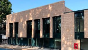 Finished modular school with brick façade