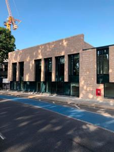 Part modular school with brick façade