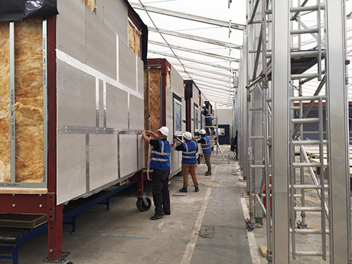 Modular units constructed on-site